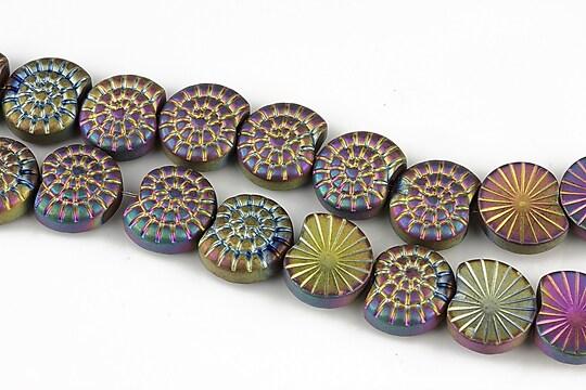 Hematit electroplacat mat melc 9x10mm - multicolor
