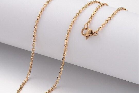 Lant otel inoxidabil auriu 304 cu inchizatoare lobster, 40cm