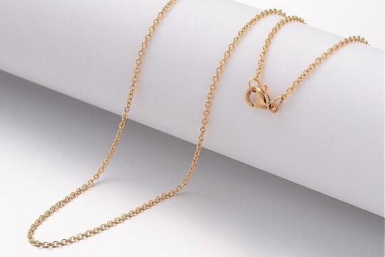 Lant otel inoxidabil auriu 304 cu inchizatoare lobster, 50cm