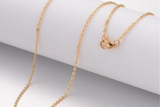 Lant otel inoxidabil auriu 304 cu inchizatoare lobster, 45cm