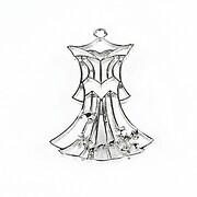 Pandantiv argintiu inchis rochie printesa 50x33mm