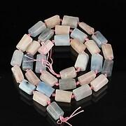 Sirag cuart si aquamarine tubulare cu fatete mari 11~9x7~5mm