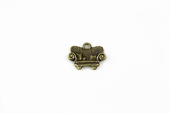 Charm bronz  canapea 14x16mm