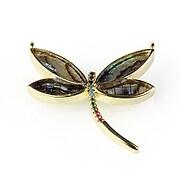 Pandantiv libelula cu strasuri Cubic Zirconia 28x30mm - auriu