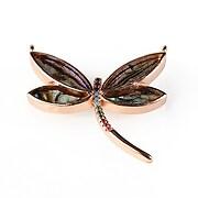 Pandantiv libelula cu strasuri Cubic Zirconia 28x30mm - rose gold