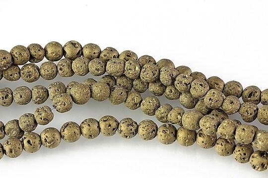 Margele lava electroplacata sfere 4mm (10 buc.) - matte bronze