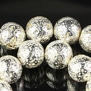 Margele lava electroplacata sfere 12mm - argintiu deschis