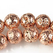 Margele lava electroplacata sfere 12mm - rose gold