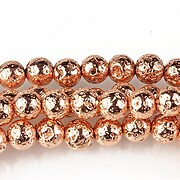 Margele lava electroplacata sfere 6mm - rose gold