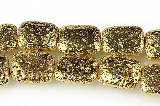 Margele lava electroplacata pernute 17x13mm - auriu