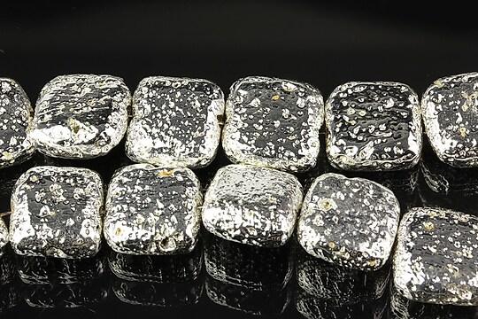 Margele lava electroplacata pernute 12mm - argintiu deschis