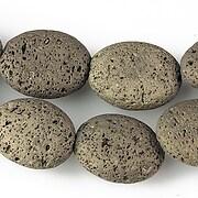 Margele lava electroplacata oval 19x14mm - matte bronze