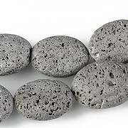 Margele lava electroplacata oval 19x14mm - matte silver