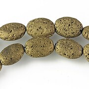 Margele lava electroplacata oval 14x10mm - matte gold