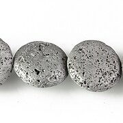 Margele lava electroplacata rotund 19-20mm - matte silver