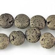 Margele lava electroplacata rotund 12-13mm - matte bronze