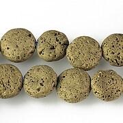 Margele lava electroplacata rotund 12-13mm - matte gold