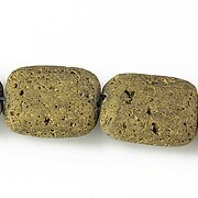 Margele lava electroplacata pernute 20x15mm - matte gold