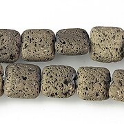 Margele lava electroplacata pernute 12x12mm - matte bronze