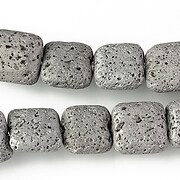 Margele lava electroplacata pernute 12x12mm - matte silver