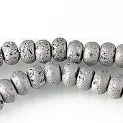 Margele lava electroplacata rondele 5x8mm - matte silver