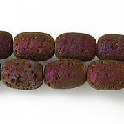 Margele lava electroplacata tub 14x10mm - matte purple