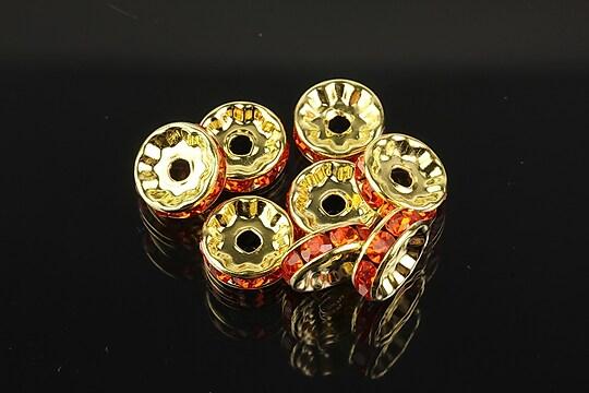 Distantiere aurii cu rhinestones rosu deschis 10mm (rondele 3,5x10mm)