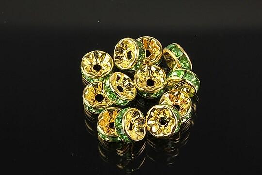Distantiere aurii cu rhinestones verzi 8mm (rondele 3,5x8mm)