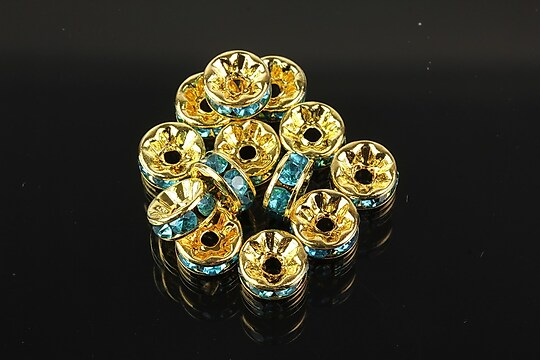 Distantiere aurii cu rhinestones bleu 8mm (rondele 3,5x8mm)