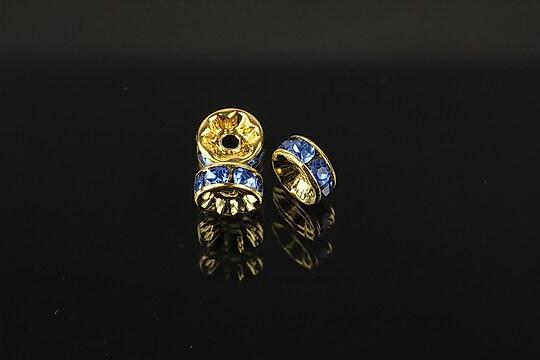Distantiere aurii cu rhinestones albastre 8mm (rondele 3,5x8mm)