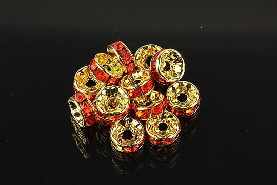 Distantiere aurii cu rhinestones rosu deschis 8mm (rondele 3,5x8mm)