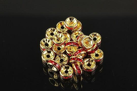Distantiere aurii cu rhinestones rosii 6mm (rondele 3x6mm)