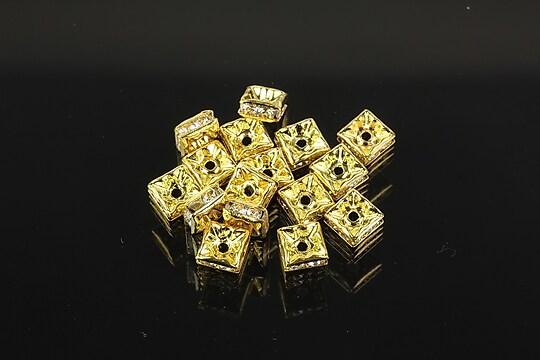 Distantiere aurii patrate cu rhinestones albe 5x5mm (2,5x5x5mm)