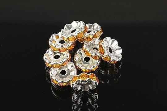 Distantiere argintii floare cu rhinestones portocaliu deschis 10mm (3,5x10mm)