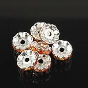 Distantiere argintii floare cu rhinestones portocalii 10mm (3,5x10mm)