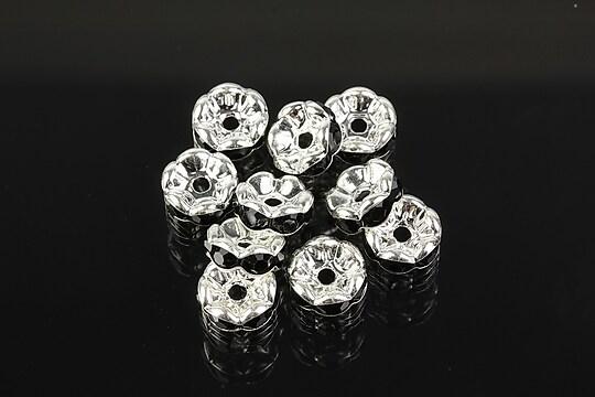 Distantiere argintii floare cu rhinestones negre 8mm (3,5x8mm)