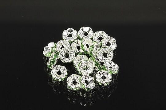 Distantiere argintii floare cu rhinestones verzi 6mm (3x6mm)