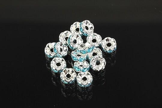 Distantiere argintii floare cu rhinestones bleu 6mm (3x6mm)