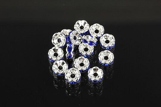 Distantiere argintii floare cu rhinestones albastru cobalt 6mm (3x6mm)