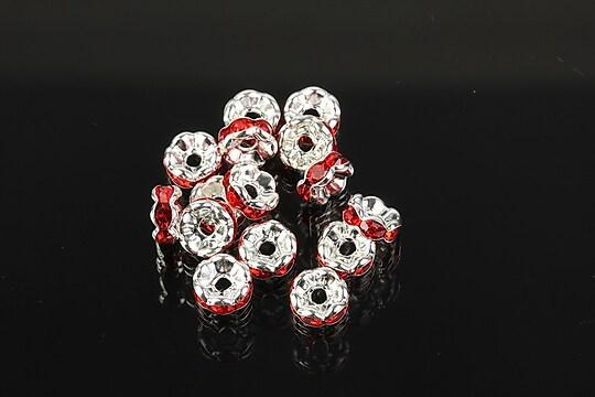 Distantiere argintii floare cu rhinestones rosii 6mm (3x6mm)