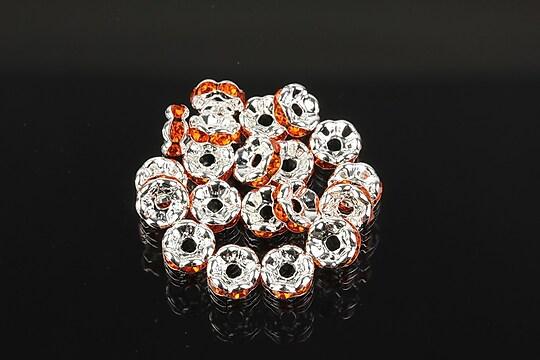Distantiere argintii floare cu rhinestones portocalii 6mm (3x6mm)