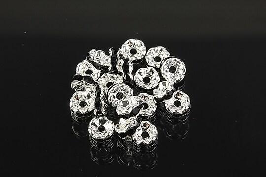 Distantiere argintii floare cu rhinestones negre 6mm (3x6mm)