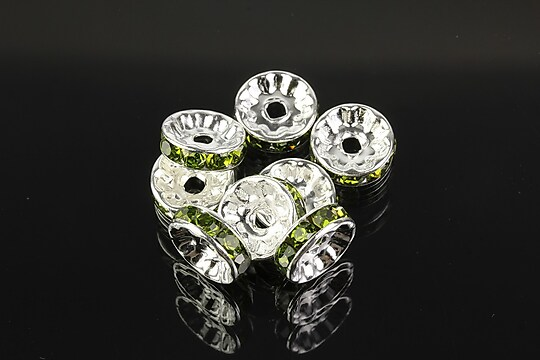 Distantiere argintii cu rhinestones verde olive 10mm (3,5x10mm)