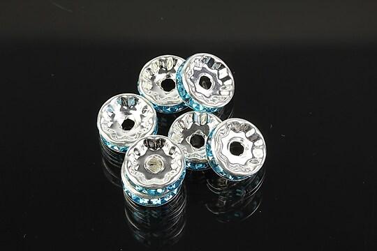 Distantiere argintii cu rhinestones bleu 10mm (3,5x10mm)