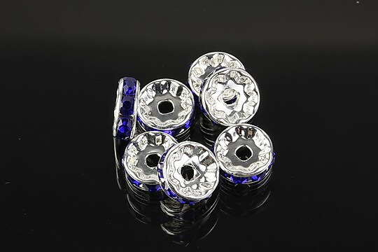 Distantiere argintii cu rhinestones albastru cobalt 10mm (3,5x10mm)