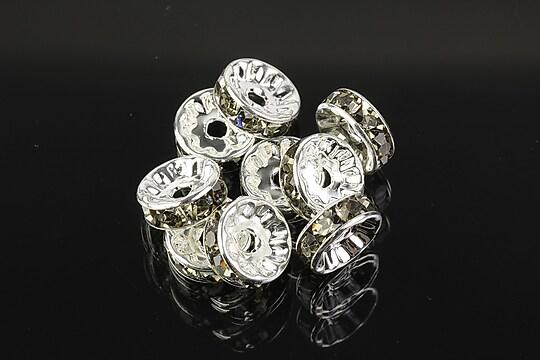 Distantiere argintii cu rhinestones gri 10mm (3,5x10mm)