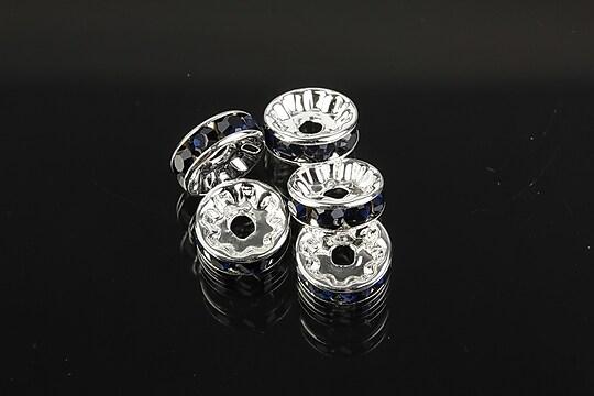 Distantiere argintii cu rhinestones negre 10mm (3,5x10mm)