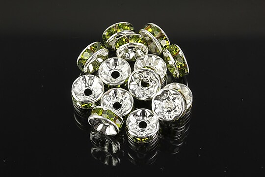 Distantiere argintii cu rhinestones verde olive 8mm (3,5x8mm)