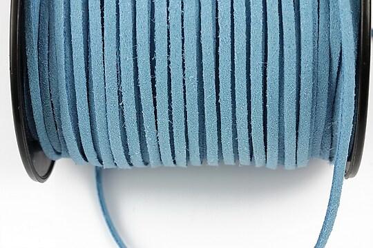 Snur suede (imitatie piele intoarsa) 3x1mm, bleu (5m)