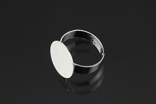 Baza de inel argintie, reglabila, cu platou 15mm